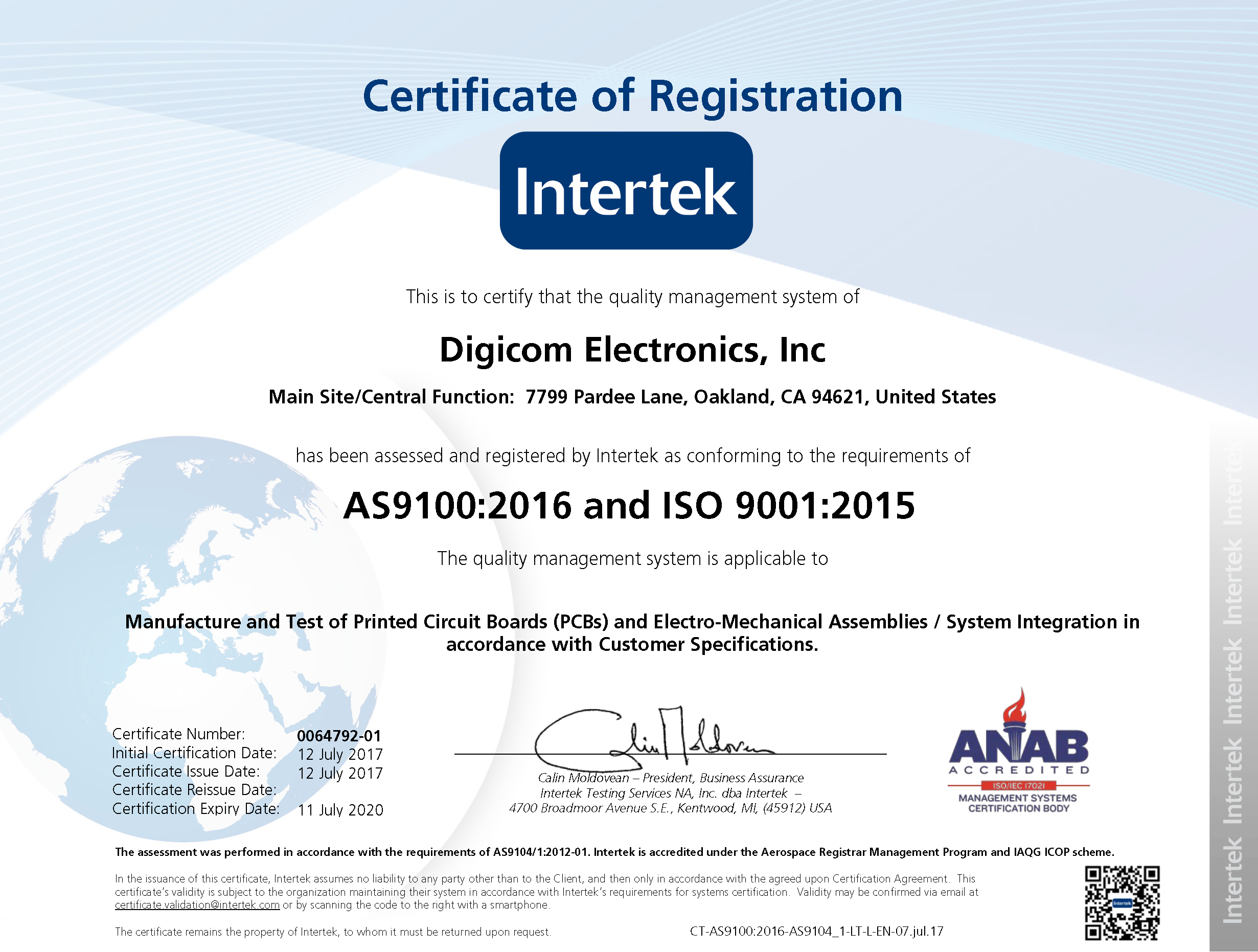 AS9100:2016 (RevD) Aerospace and ISO9001:2015 Certifcations